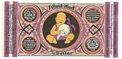 **1923 BIELEFELD Germany - BABY LAVENDER ~ 1 Gold Mark RARE German Currency UNC