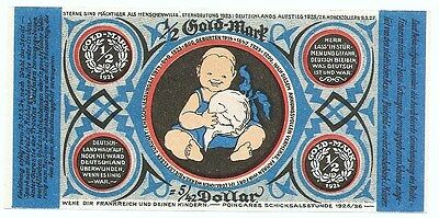 **1923 BIELEFELD Germany - BABY BLUE 1/2 Gold Mark RARE German Currency UNC