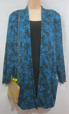 Gorgeous Vintage 80's Teal Floral Silky Oversized Blazer Cardigan 12 14 16