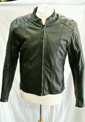 """Mens Lewis Leather Motorcycle Jacket Size 42"""" Chest"""
