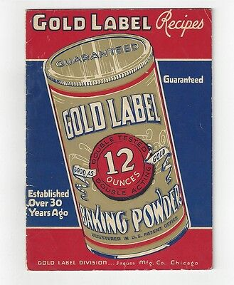 Vintage  GOLD LABEL Baking POWDER~   RECIPE BOOKLET ~ 16 pages 1940's
