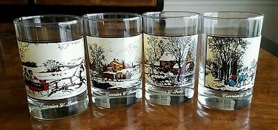 4 Vintage Arby's Glasses Currier and Ives 1981 Winter pastime American Farm