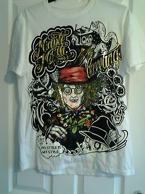 BNWOT Size L Johnny Depp Alice in Wonderland T shirt. Retro. Funky. Collectable.