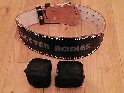 Better Bodies Weightlifting Bodybuilding Training Belt & Hand Wraps Size S