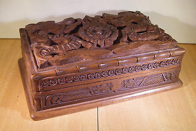 Wooden Cigarette Box Dragon Carvings needs some restoration
