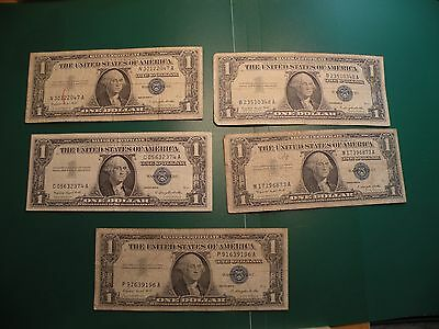 1957A One Dollar US Silver Certificate series lot of 5 bills   S34
