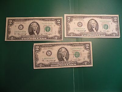 $2 Two Dollar US Bill, Series 1976 lot of 3  S39