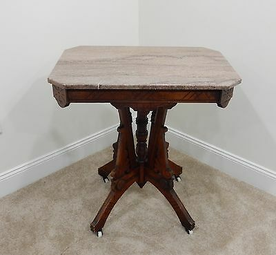 Antique Eastlake Victorian Walnut Marble Top Parlor Side Table c.1880