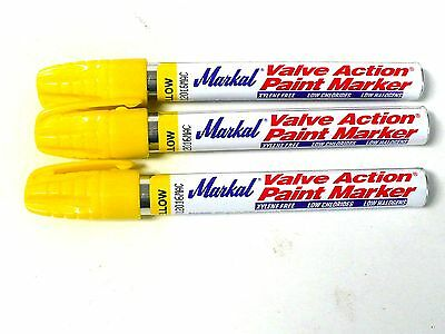 New 3 PACK MARKAL Valve Action Paint Marker Yellow-96821- Free Shipping