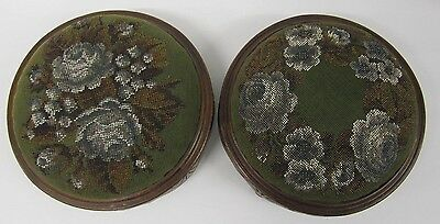 Victorian Bead Work Foot Stools Pair Mahogany tapestry carved rose bun feet