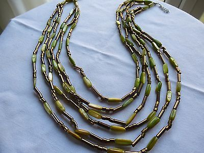 Vintage Miracle Piece Necklace Multi-Stranded In Green And Gold Good Length