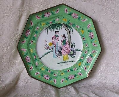 Antique Chinese Canton Enamel Brass Hand Painted Large Plate Charger