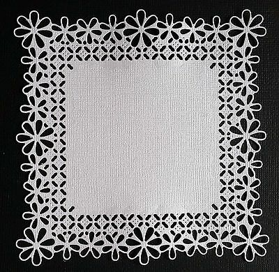 CHOICE OF COLOUR & CARD.. 4 x Lace Edged Squares, Die Cuts , Scrapbooking.