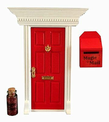 Enchanted Fairy Door (Red) Mailbox and Magic Dust Gift Set Tooth Fairy or Elf
