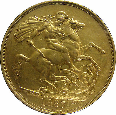 1887 Great Britain 2 Pound Gold Coin