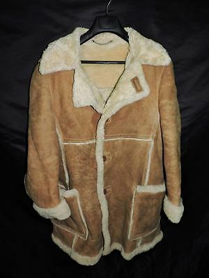 Vintage Grais Leather S M Brown Suede Coat Shearling Sherpa Lined Western Hippie