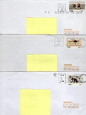 """Australia 1997-2000 five covers with five different """"NPC"""" counter printed stamps"""