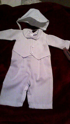 NWT Infant Baby Boys White Christening Romper Baptism Outfit Size 3 Months