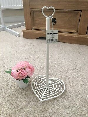 Bnwt Vintage Home Shabby Chic Cream Heart Kitchen Roll Towel Holder