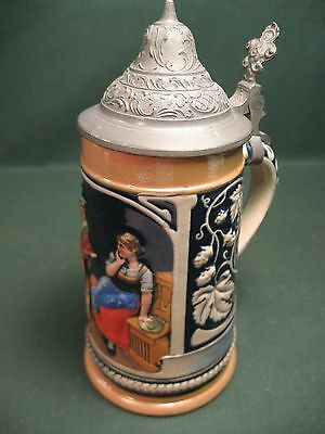 Vintage 1/4 Litre Stein Pewter Lid Germany ? Fox