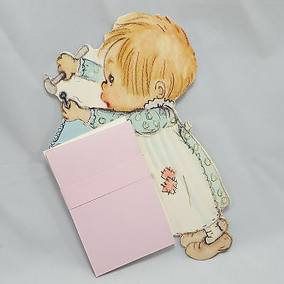 Vintage Hallmark Notepad Holder Betsey Clark Little Girl Country Patches Pink