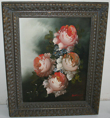 Wonderful Old Still Life Oil on Canvas Painting Pink Roses