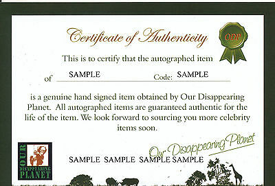 Certificate of Authenticity (COA) - Our Disappearing Planet