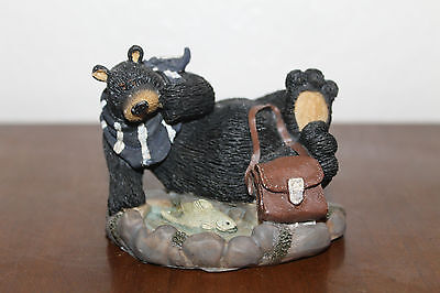 Cute Collectible Little Black Bear Figurine By Fishing Pool With Trout!