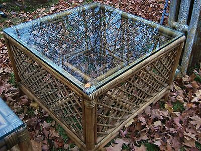 Vintage Mid-Century Glass Top Rattan Coffee Occasional Table A
