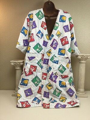 Vintage 1990s Pinky & The Brain Print Novelty Youth Large Robe Flannel Lined