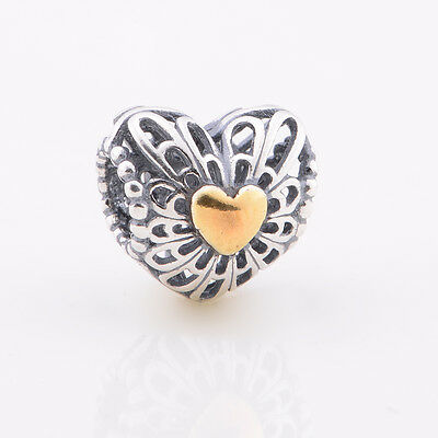 Genuine PANDORA sterling silver and 14ct Gold Vintage Heart Charm bead