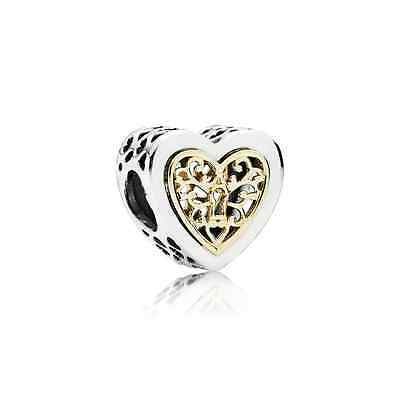 791740 Pandora Sterling Silver and 14K Gold Locked Hearts Charm Bead