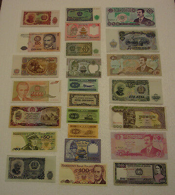 Junk Drawer lot of 24 Banknotes World Foreign Currency Notes