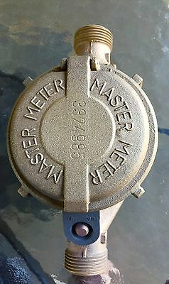 "Brass MASTER METER Water Meter for 5/8"" Service Steampunk Industrial 001"