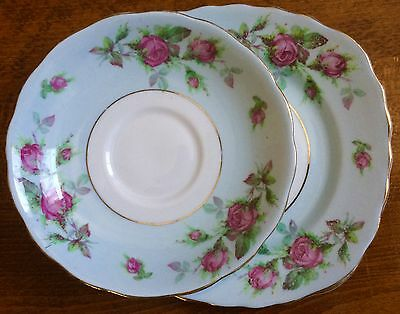 Replacement Colclough Saucer & Plate - Bone China England - Pale Blue Pink Roses
