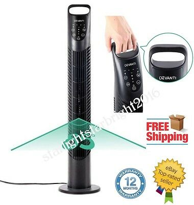 Portable Fan Air Tower Cooler 3 Speed Oscillating Bladeless Cooling Timer Remote