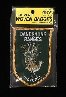 Vintage Souvenir Woven Badge / Patch - Dandenong Ranges, Victoria - Lyrebird