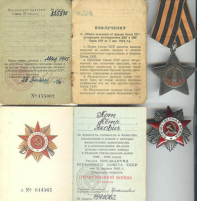 Complete WWII Rusian Order of Glory 3 cl. Documented Group