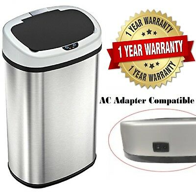 New 13 Gallons Automatic Kitchen Trash Can Touch- free Sensor Stainless Steel