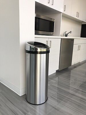 13 Gallon Trash Can  Round Stainless Steel Touch-free Automatic Sensor Kitchen