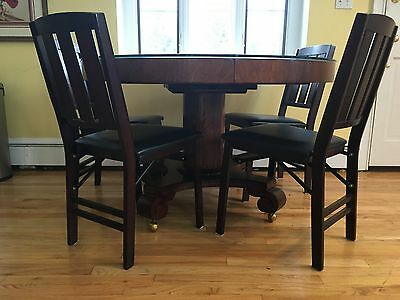 4 Wooden Folding Chairs Padded Seats
