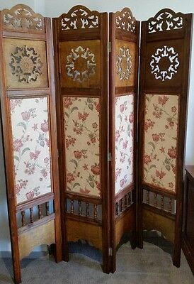 4 panel timber room divider Privacy screen for dressing folding fold stand