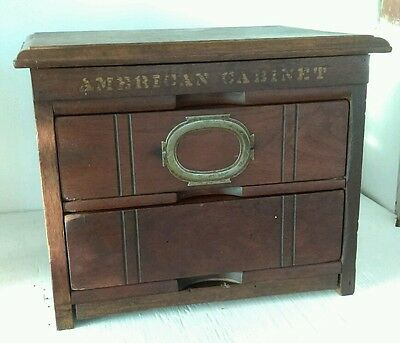 """Victorian General Store 2 Drawer File Wooden Chestnut """"American Cabinet"""""""