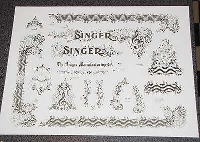 Waterslide Replacement Decals for an Antique Singer Sewing Machine model 128