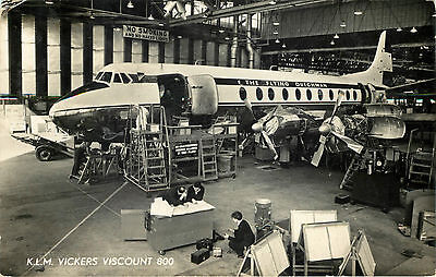 Viscount 800 being Serviced inside Hangar ~KLM~ RPPC / Photo Postcard, 1957