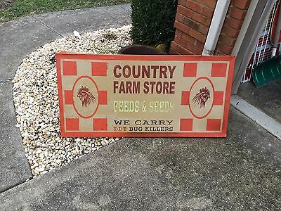 "Vintage Country Farm Store Feed Seed Rooster Metal Sign 48"" x 23"""