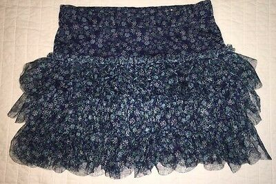 JUSTICE  Girls   Blue Floral Print Skirt/Skort   Size 10   EUC Layered Ruffles
