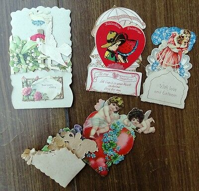 Victorian Fold Out Valentine Lot of 4 Cards