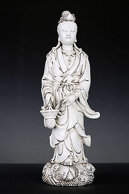 Exquisite Old Chinese Blanc De Chine Porcelain Buddha Statue Sculpture FA145
