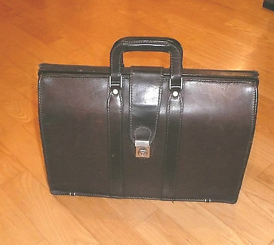 Vintage Dilana Brown Gladstone Style Saddle Leather Briefcase Bag Used